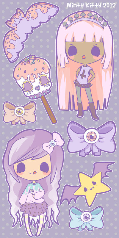 Creepy Candy Stickers by Minty-Kitty-Art