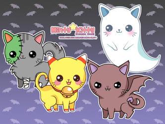 Spooky Kitties by Minty-Kitty-Art