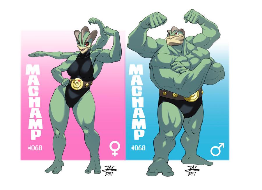 Male and Female Machamp Shinny by JAG-Comics