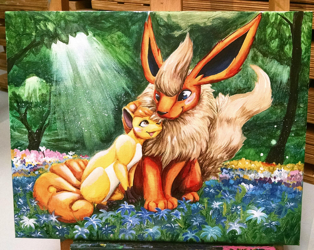 Commssion: Vulpix and Flareon by NamelessOkami
