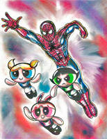 Spider-Man and Powerpuff Girls by Gamemusicfreak