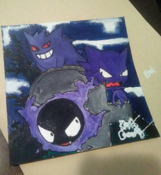 Gastly, Haunter, and Gengar by Ernest94