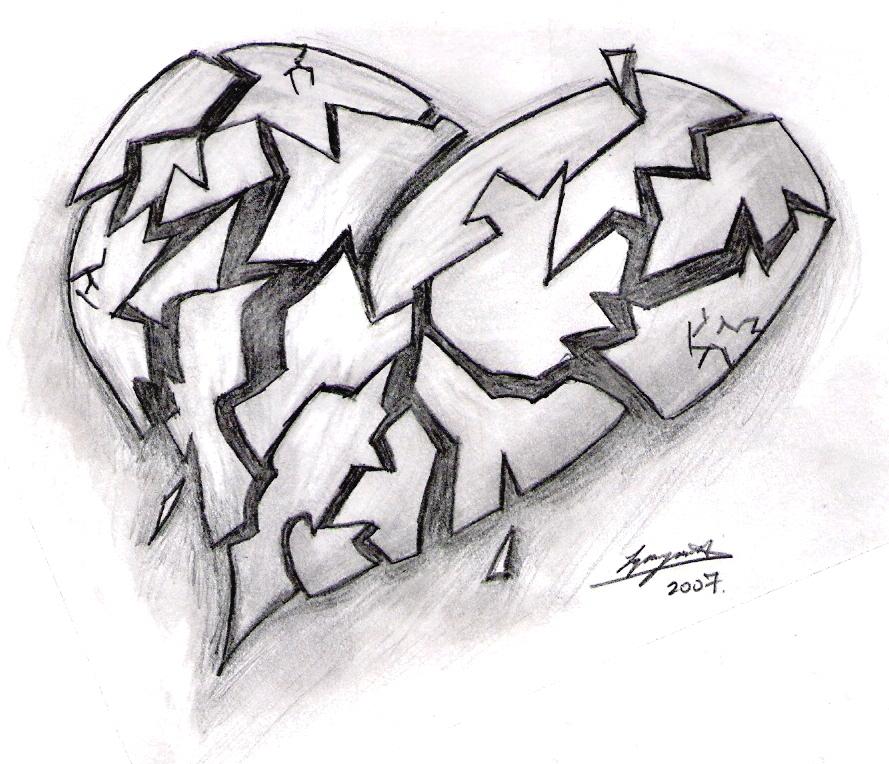 Emo Heartbroken Drawings Broken Heart By...889 x 764