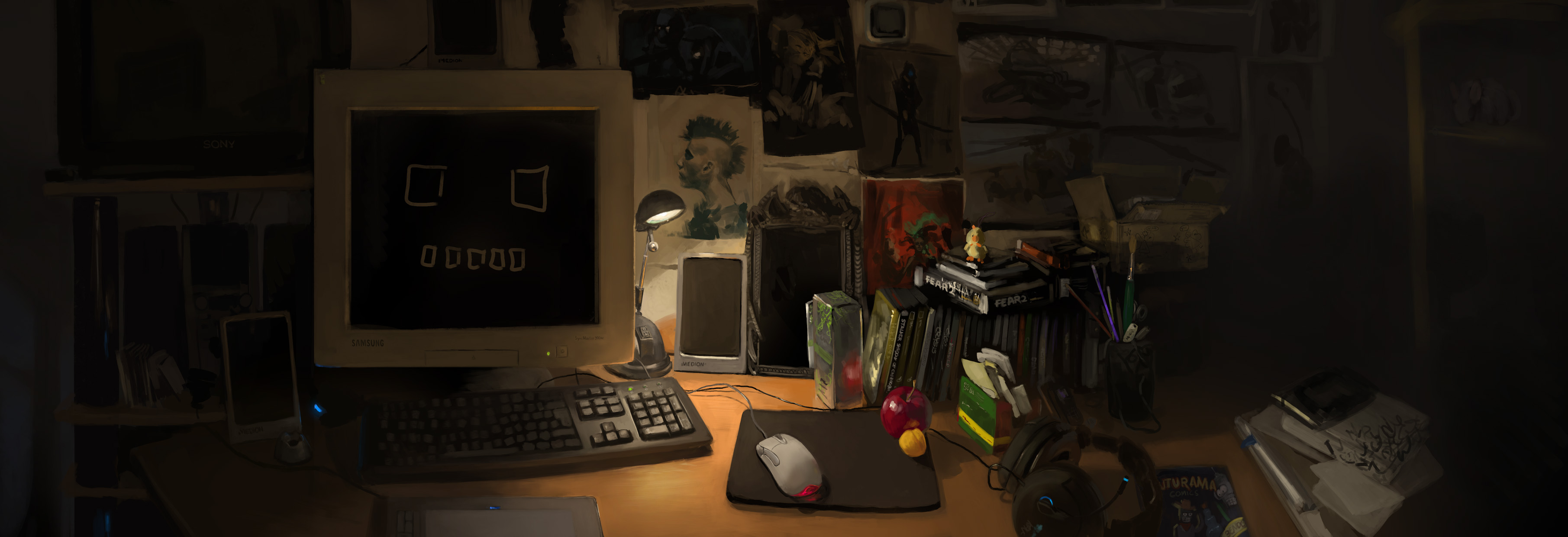 huhwn's desk by teyoliia
