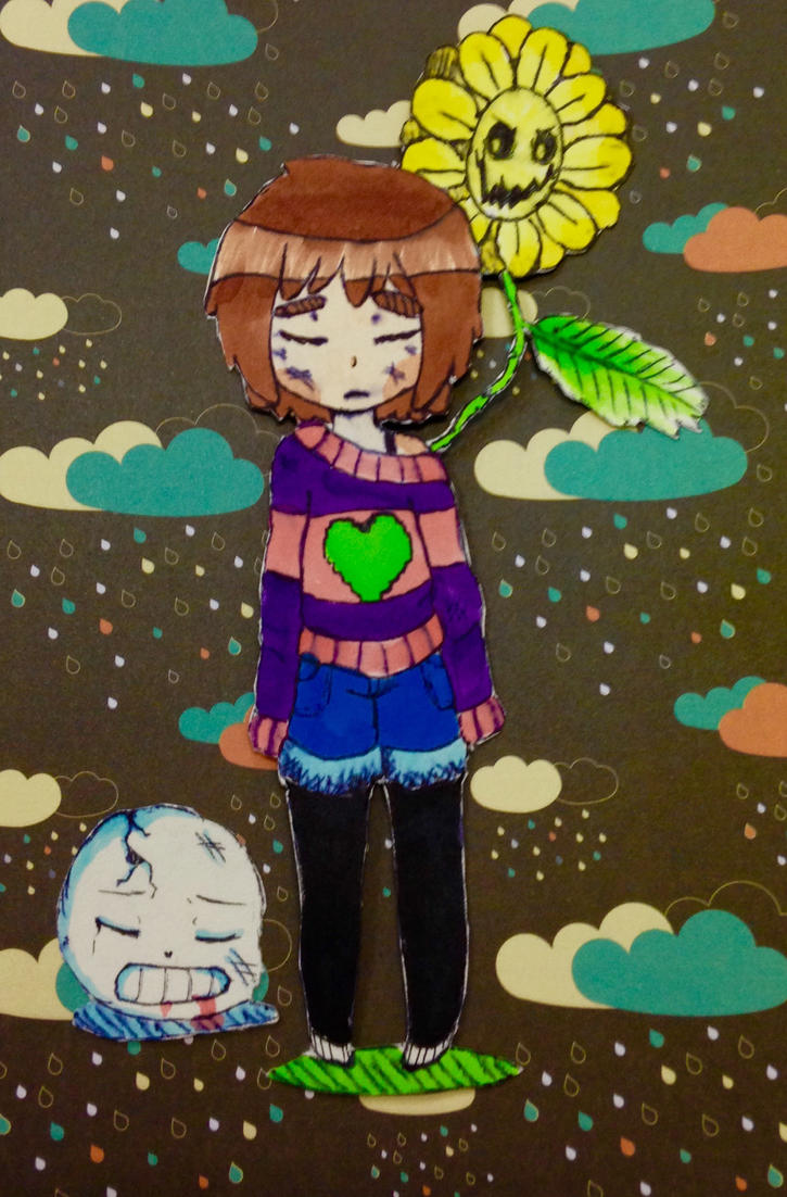 UNDERTALE flowey frisk and sans collaboration  by briethebee