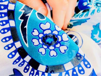 Blue barbed seams by briethebee