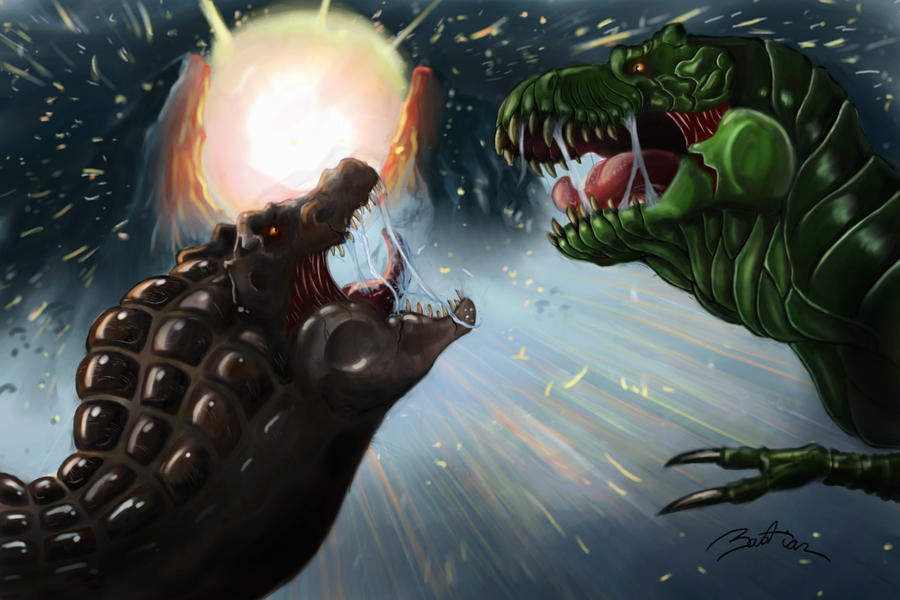 t-rex vs spinoosaurus at the end of the world by veloco96