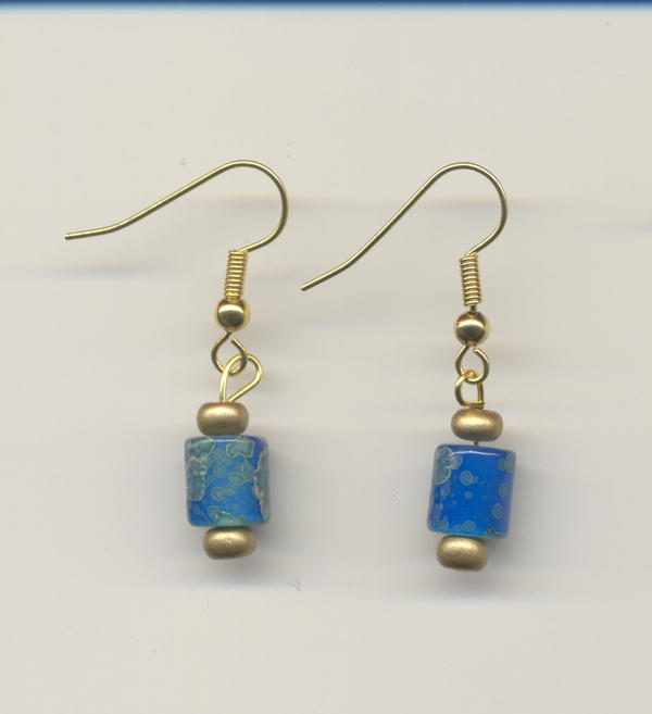 blue and gold earrings by creationsjewellery on