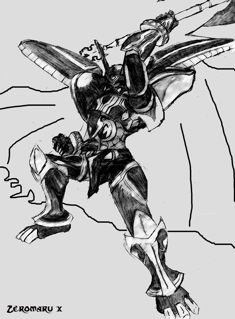 Alphamon OuRyuuken Form by Zeromaru-x