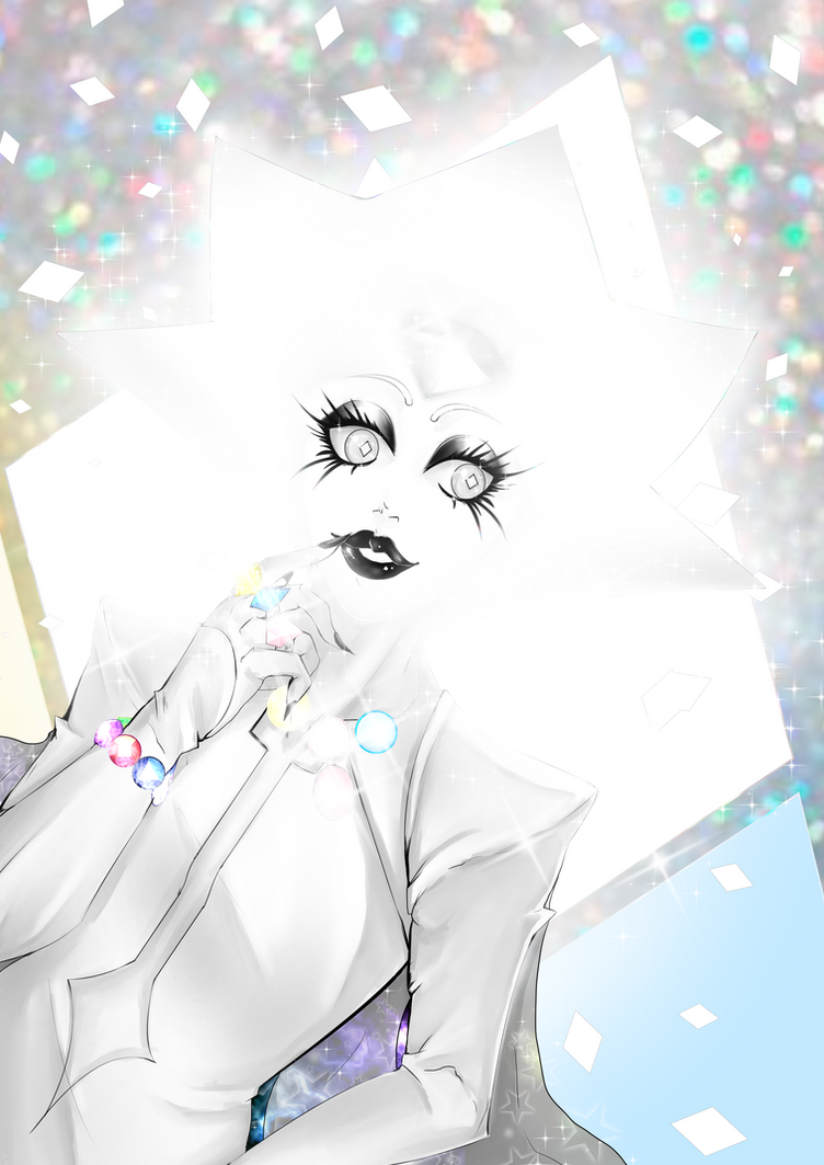 I drew White Diamond, after talking with my sister, and she gave me the idea to draw White Diamond wearing all the Crystal Gems and diamonds. if you want to see me draw this you could click  h...
