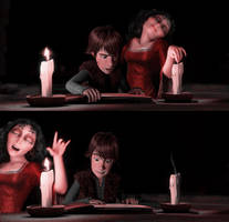 Mother Gothel and Hiccup   Lights Out! by xLexieRusso2