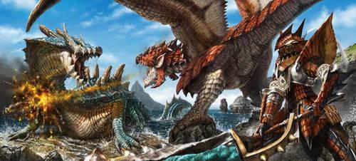 Rathalos VS. Lagiacrus by NewRoyalDragon