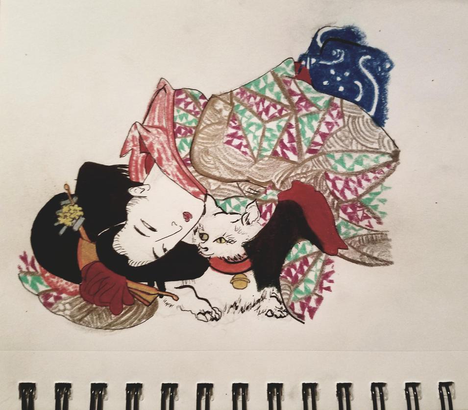 Traditional Japanese art, neko by norareme