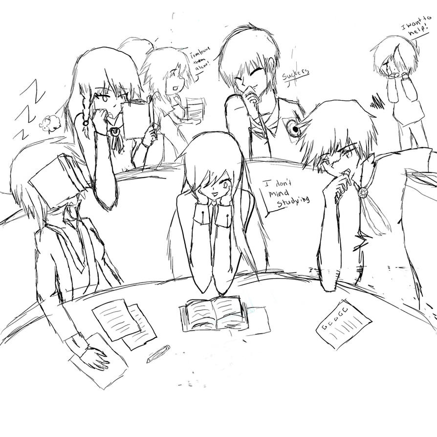 Line Art Group : Study group sketch by emiko on deviantart