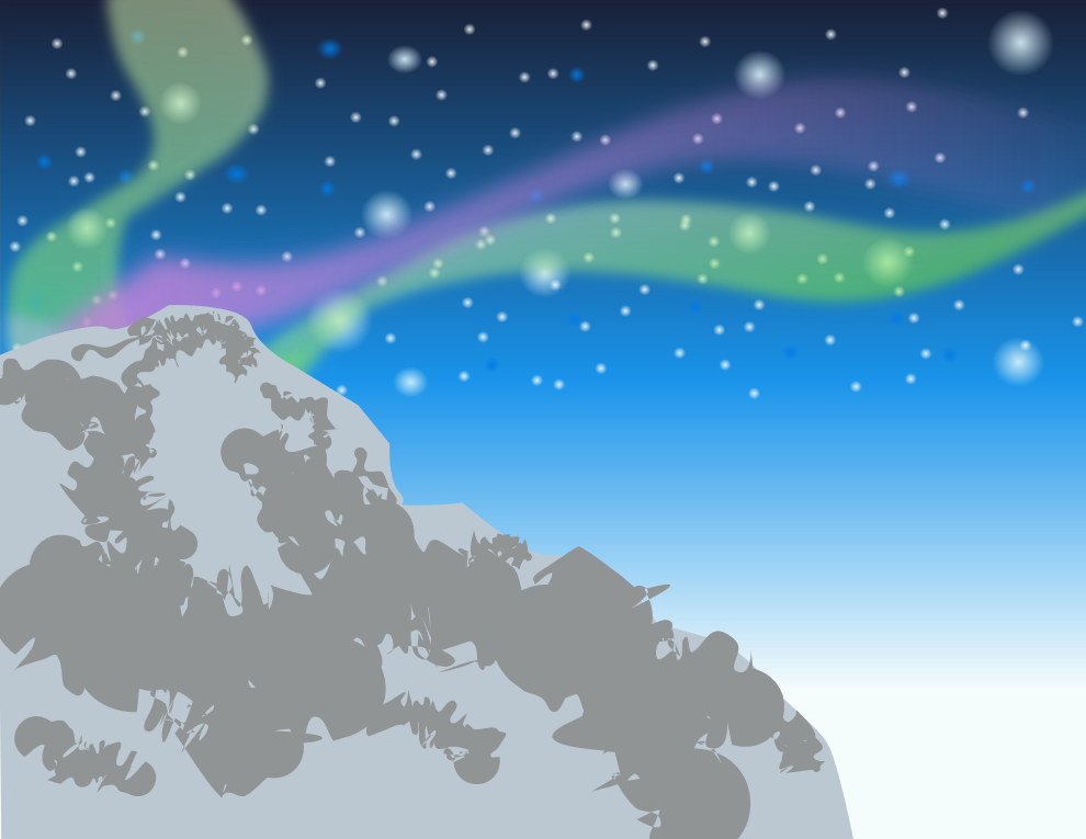 Mountain and Aurora by NoxFairy