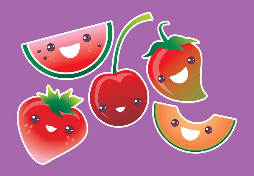 Kawaii Fruits Serie01 by GorkaOlachea
