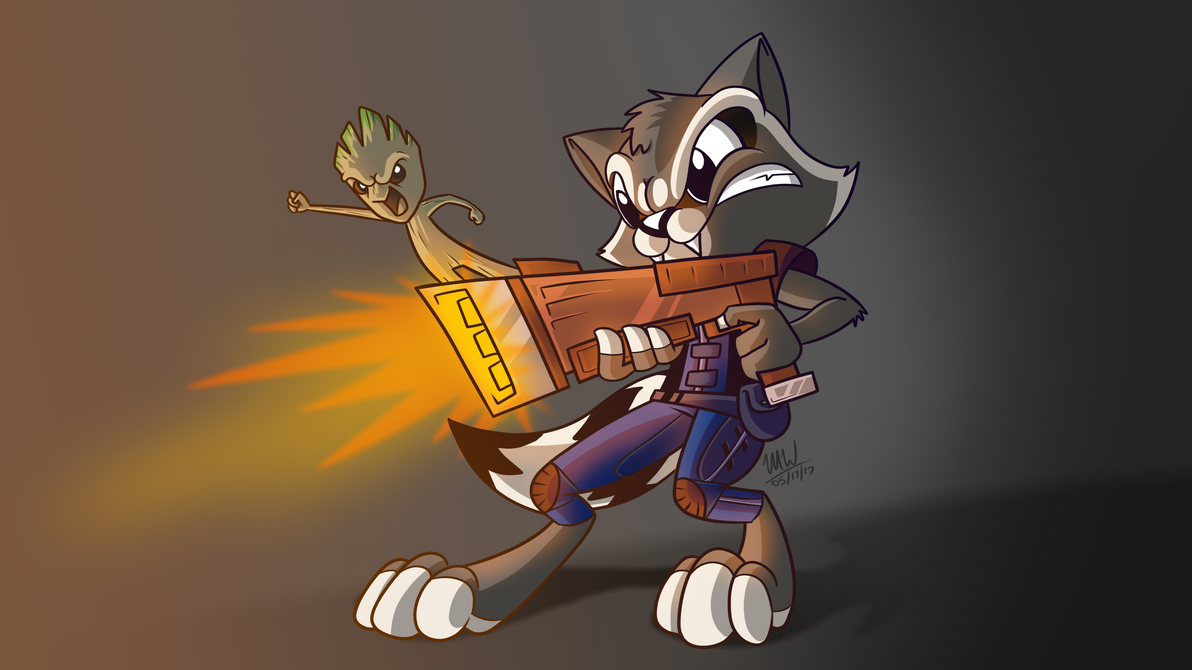 Rocket Raccoon and Baby Groot by Most-High-Studios