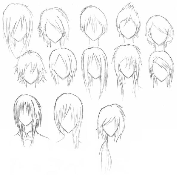 Hairstyle Drawings : Quick Sketches of Hairstyles by Kagemaruya on DeviantArt