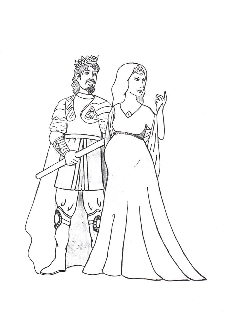 Line Drawing Queen : King cornelius and queen katerina by dragonlady on