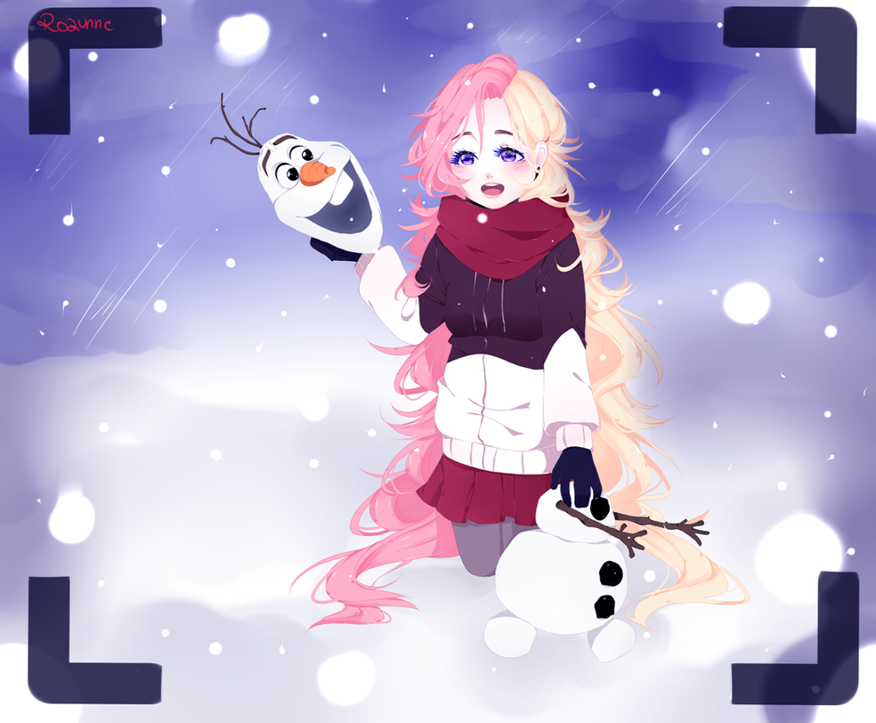 Olaf and Rose by Christmas ( + speedpaint ) by Rozunne on DeviantArt