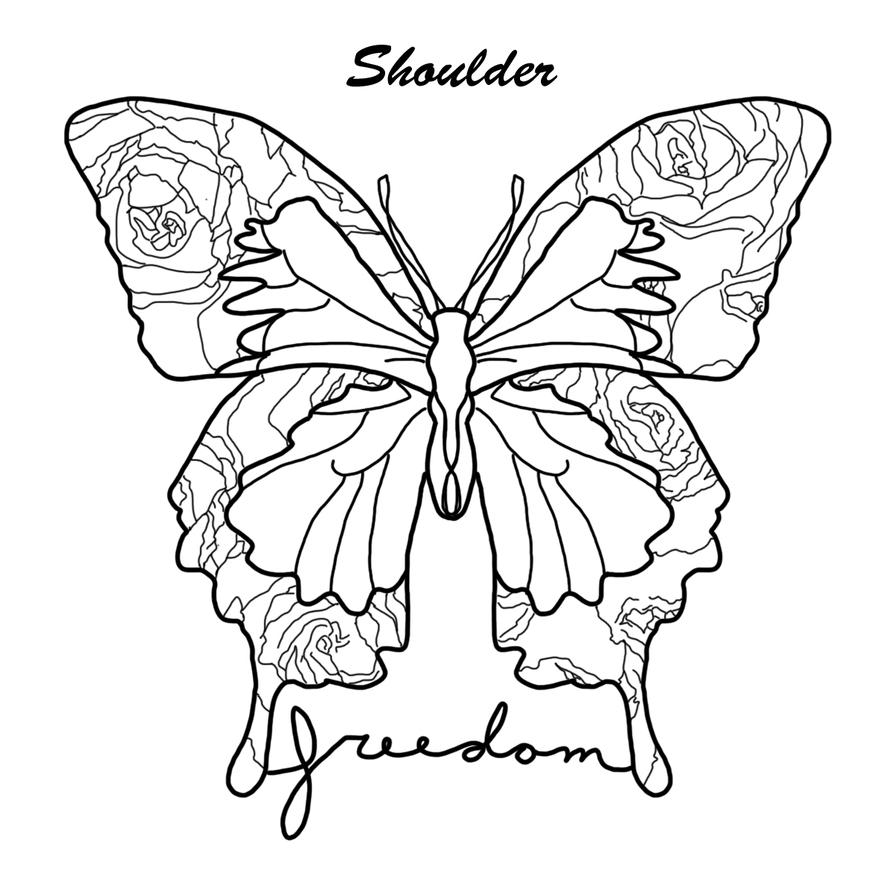 Line Drawing Butterfly Tattoo : Butterfly tattoo line art by illustrator life on