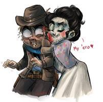 Hairy damsel kissin angery cowboah
