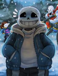 A chubby snow BEAN by Berylunee