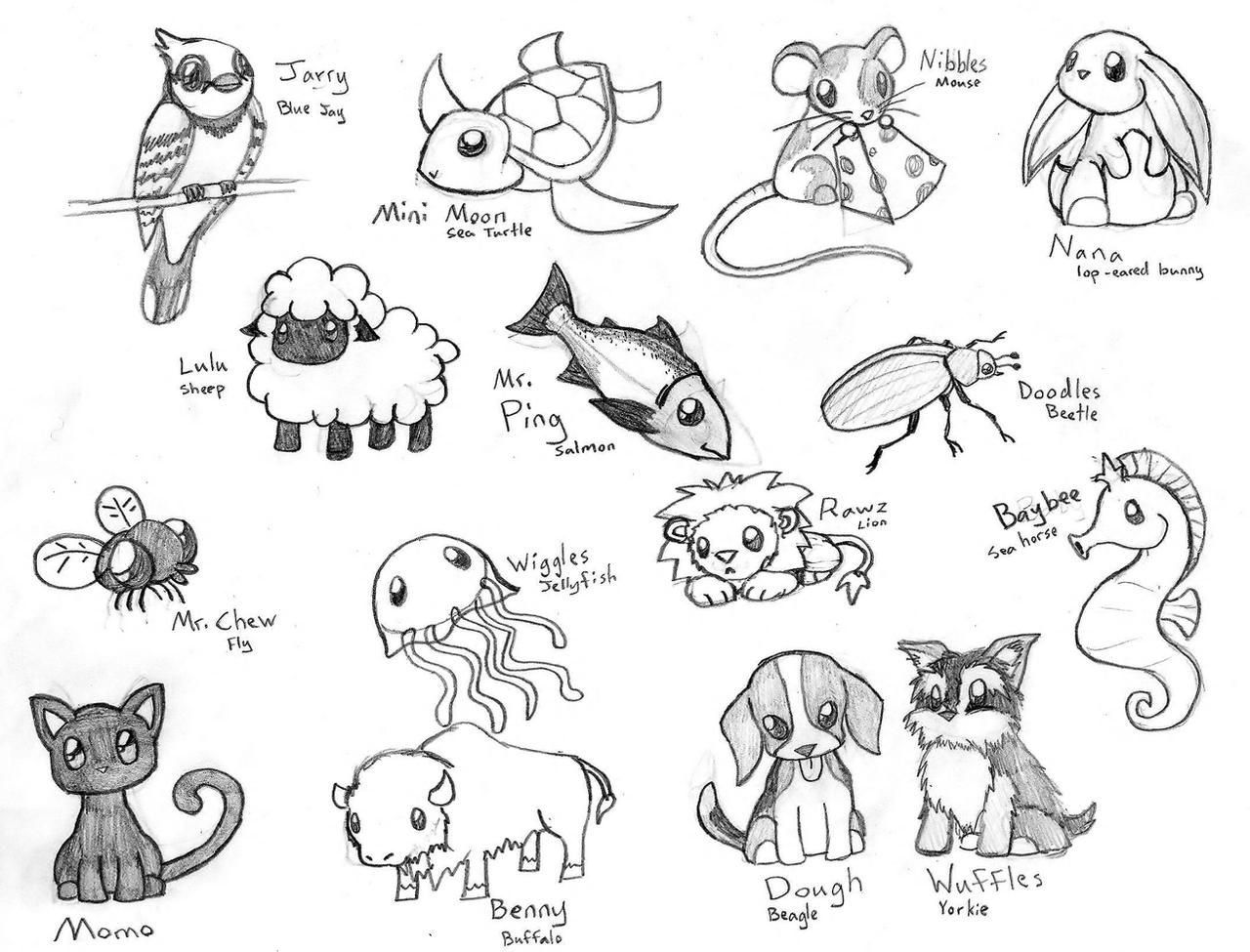 Line Art Xl 2011 : Cute chibi animals by crimsonangelofshadow on deviantart