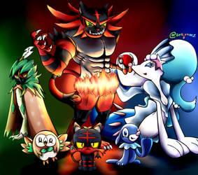Pokemon Alola  starters by zeid-endez