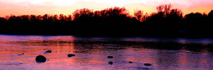 Grand River at Glen Morris Sunset Panorama