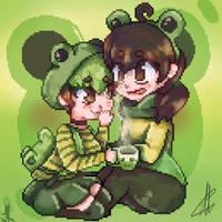Cute frogs - Pixel art experiment by kennythemesht