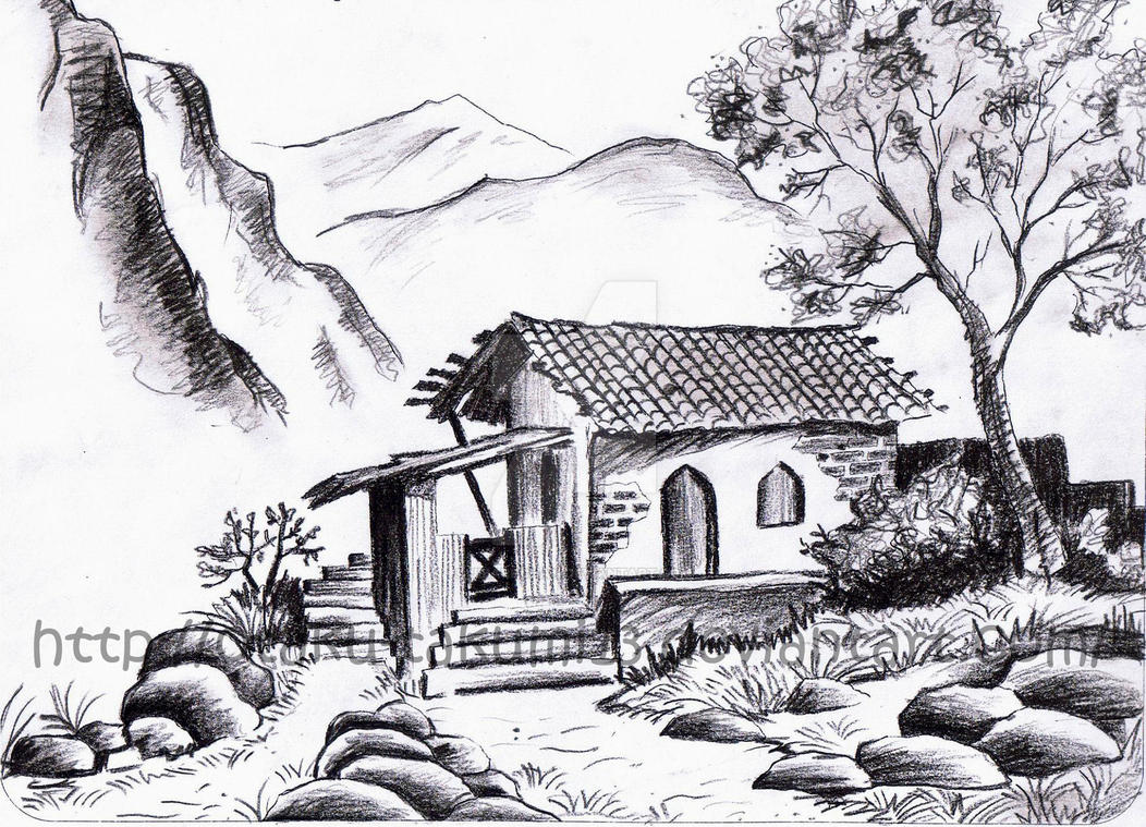 First landscape drawing by jibari chan