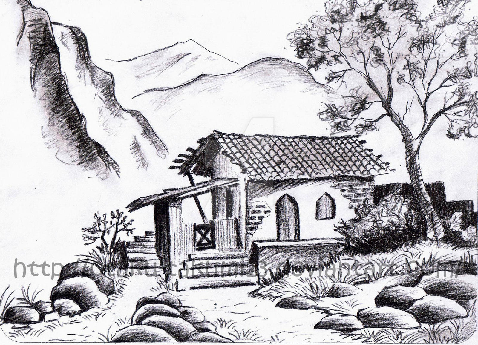 First landscape drawing by jibari chan on deviantart for What is landscape drawing