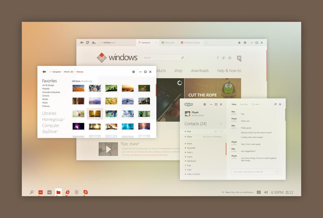 Windows Desktop UI Concept by kgbstyle