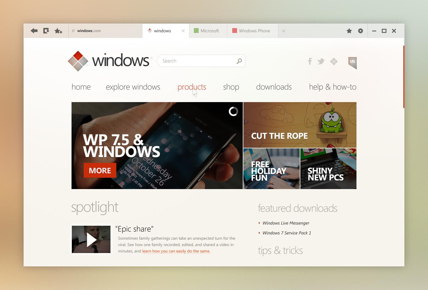 Windows UI Concept: Internet Explorer by kgbstyle