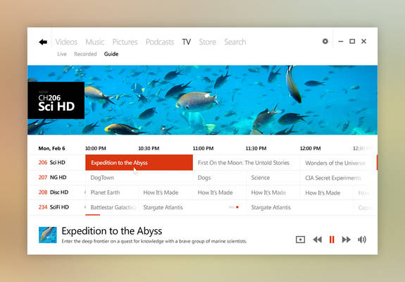 Windows UI Concept: Media Center