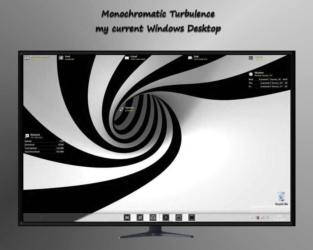 Monochromatic Turbulence - My Windows Desktop by rvc-2011