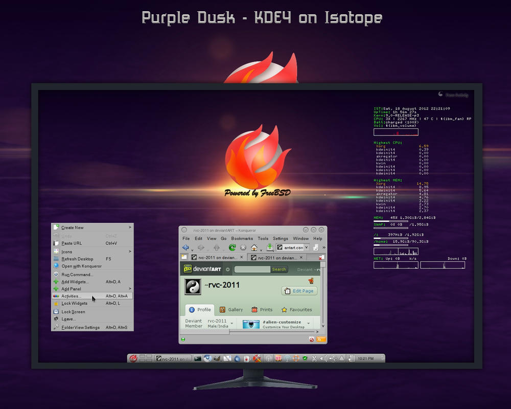 Purple Dusk - My KDE4 Desktop on Isotope by rvc-2011