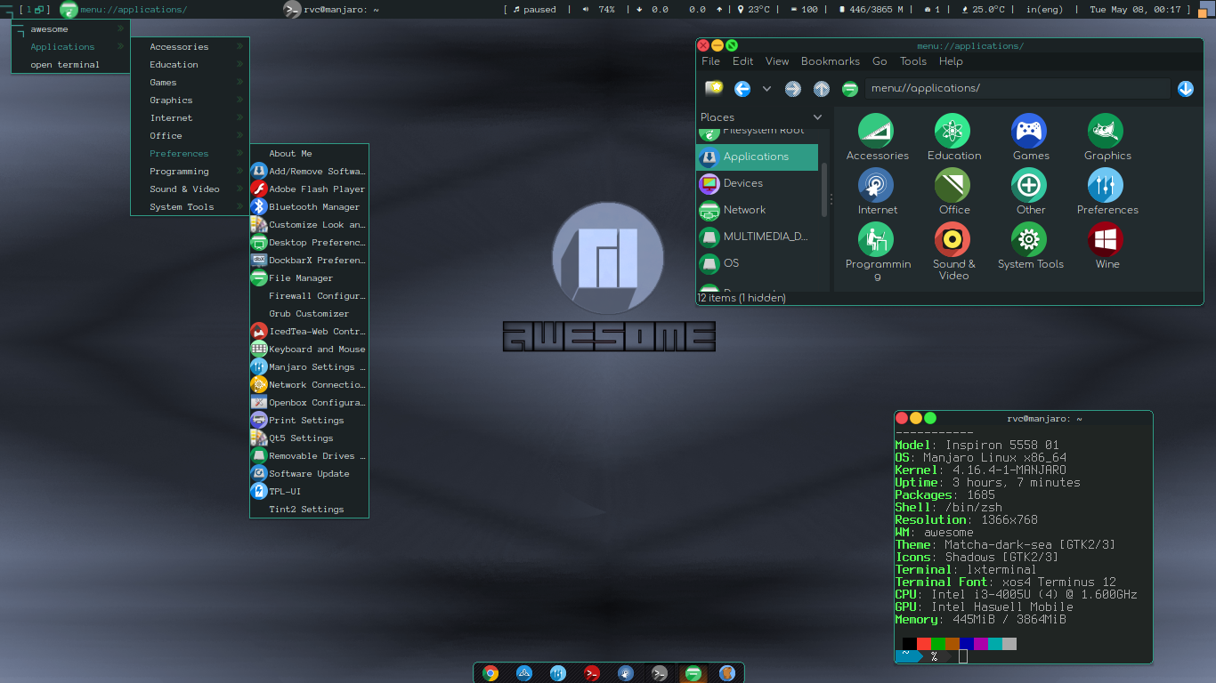 Awesome on Manjaro - Dark Theme by rvc-2011
