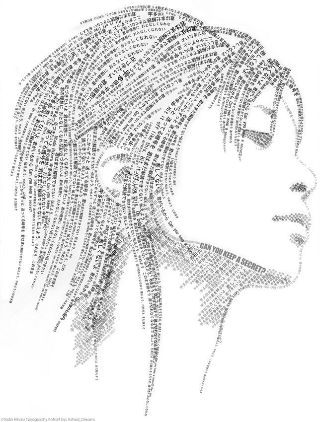 Utada Hikaru Typo Portrait by Ashed-Dreams