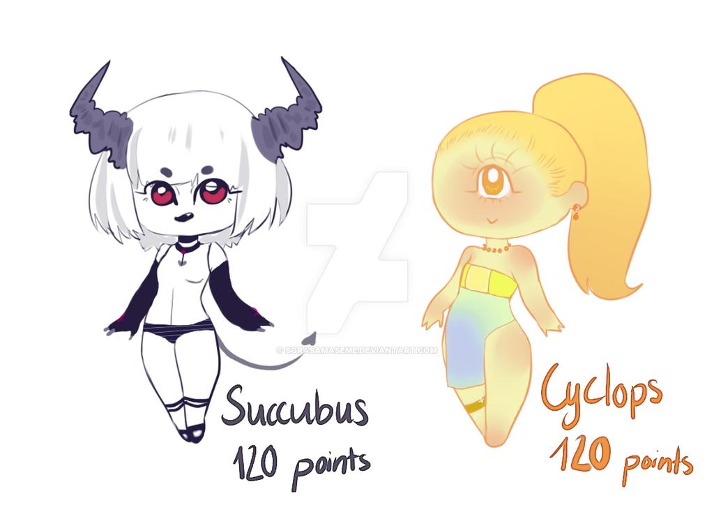 Cute Monster Girls 120 Points Closed By Sorasamaseme On Deviantart