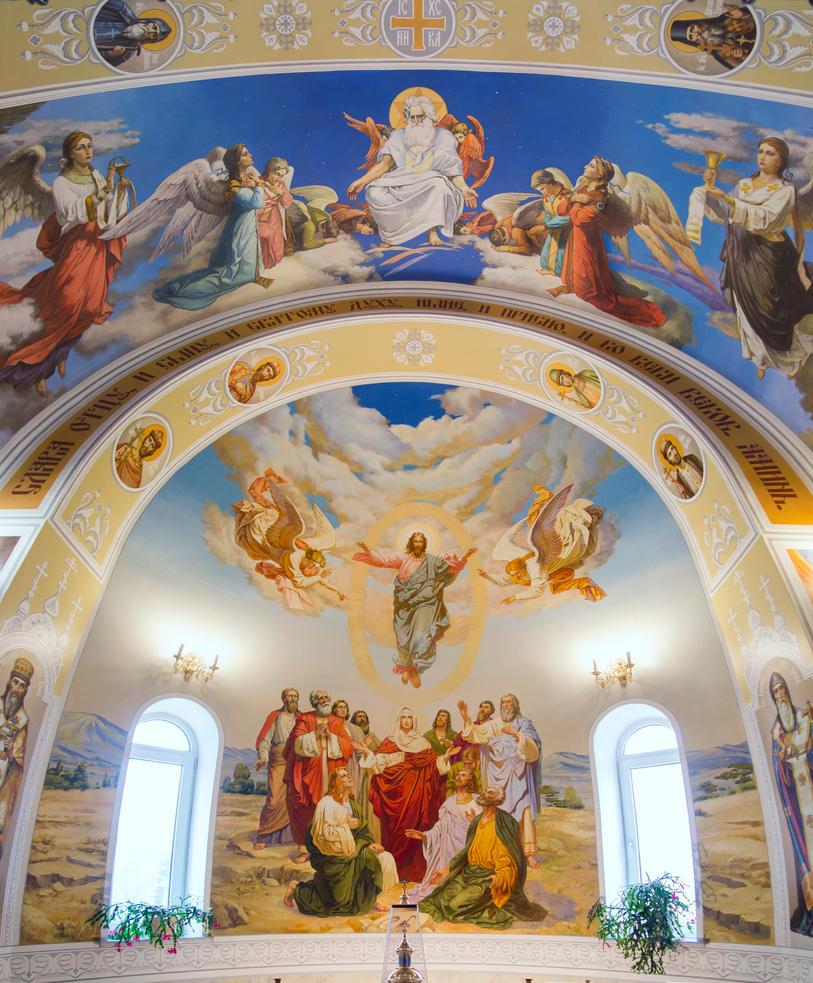 Murals in Kostyantinivka Church, altar part by tiN-naR
