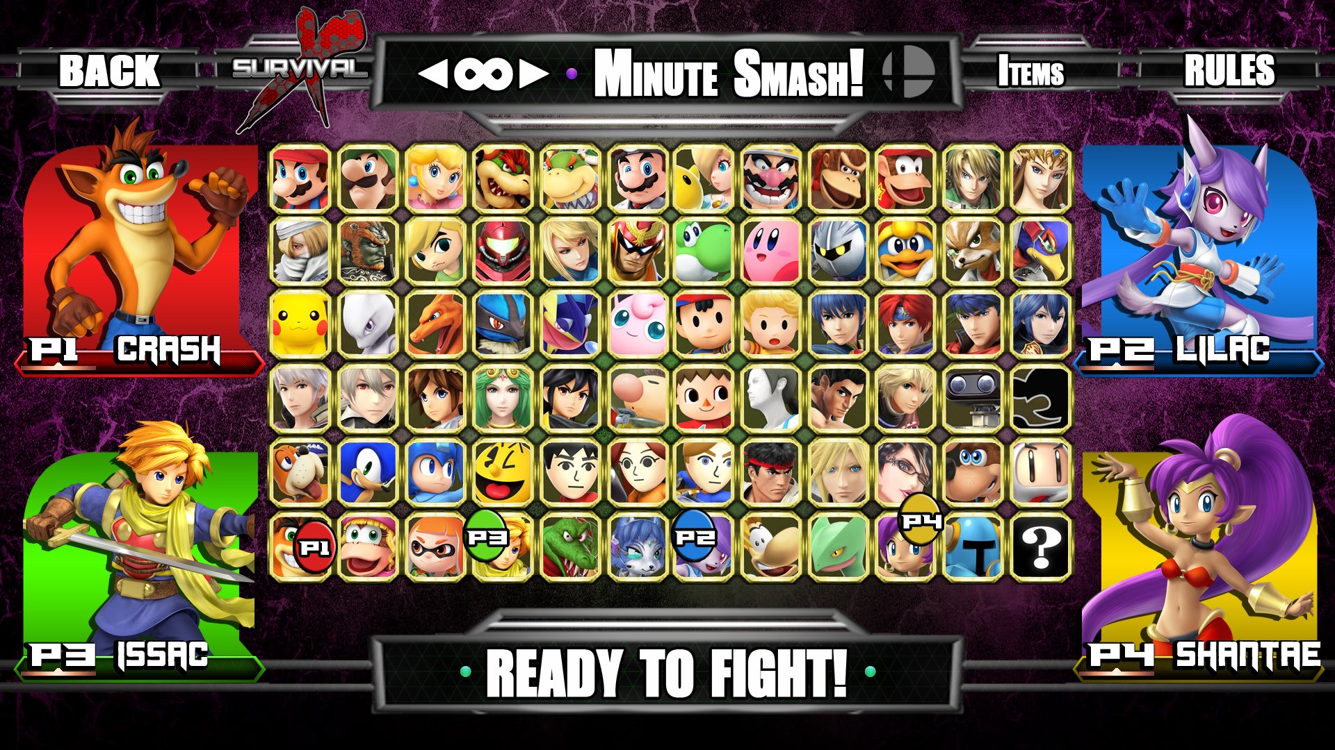super smash bros ultra character select screen by