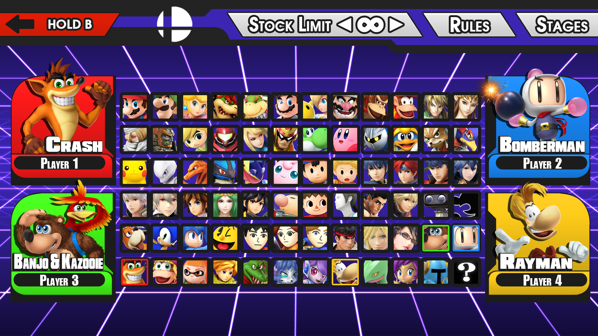 new super smash bros character select screen by