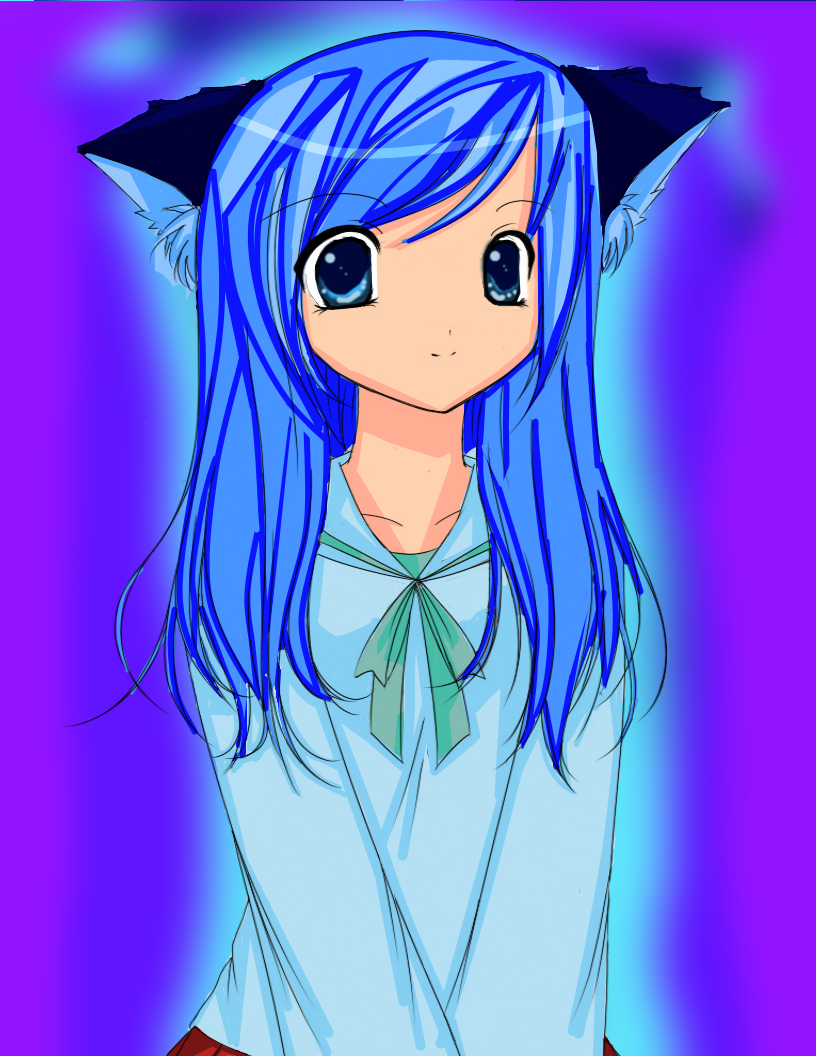 Cat girl colored by angelkitty765 cat girl colored by angelkitty765