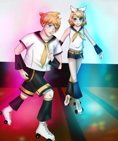 Len and Rin rolleskating