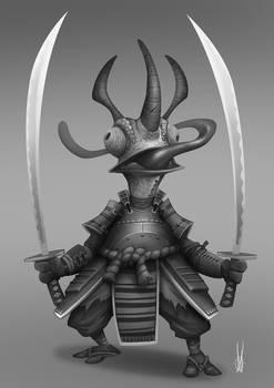 Samurai Chameleon Grayscale