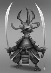 Samurai Chameleon Grayscale by dominicali