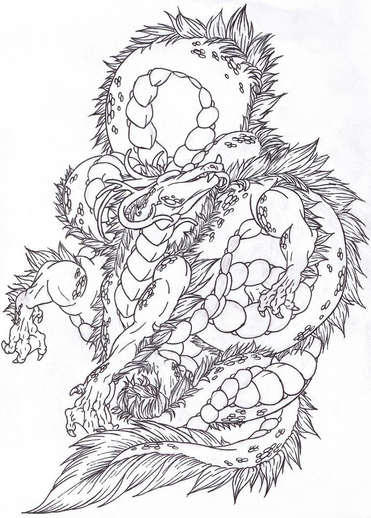dragon lineart by takashidaimao on deviantart