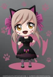 Chibi D.Va Black Cat by CelestialRayna